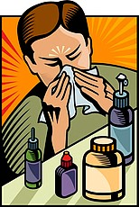 Illustration of a sneezing man